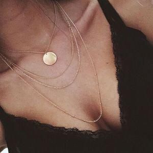 Multilayer Circle Coin Gold Boho Choker Necklace